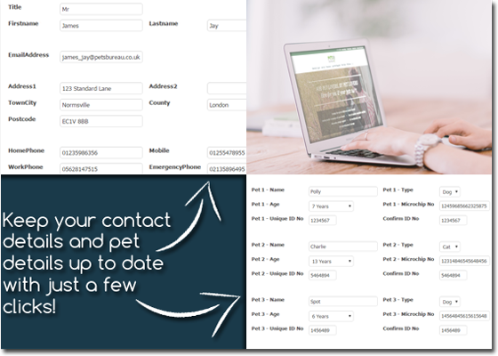 Keep your contact details and pet details up to date with just a few clicks!