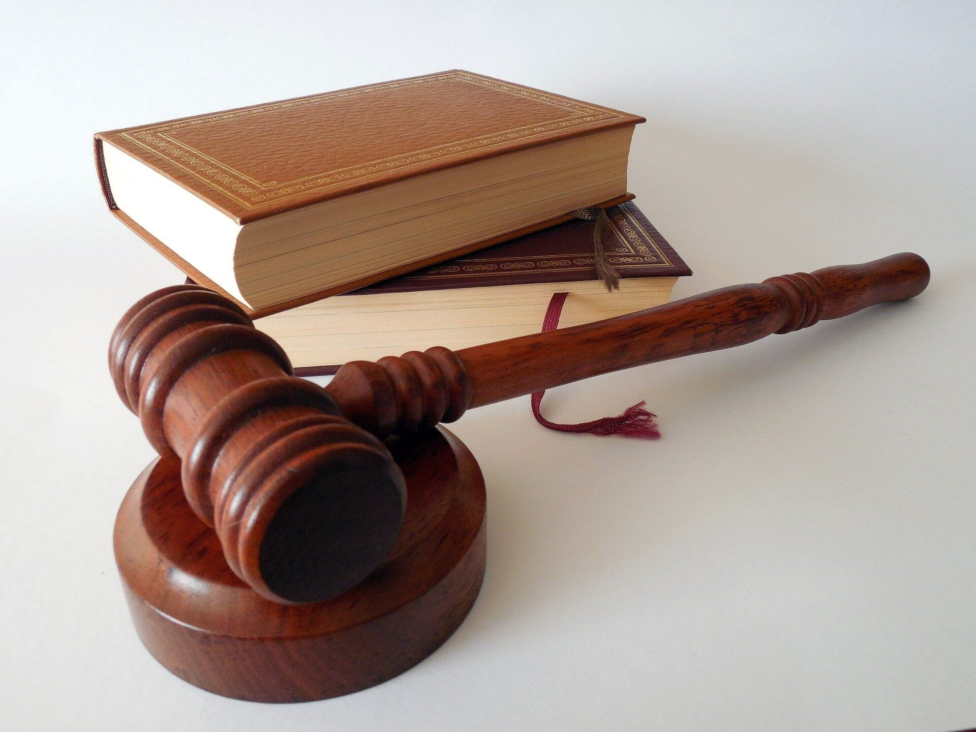 law court hammer and books